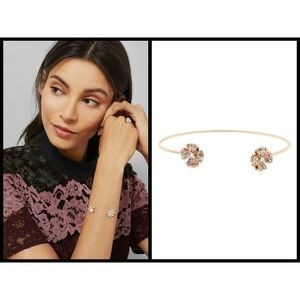 TED BAKER Rose Gold Rosette Pave Crystal Cuff